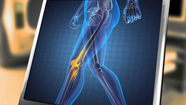 Knie beim Walking gebeut halten