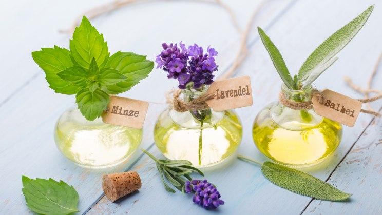 Drei hübsche Naturkosmetik-Flaschen (Minze, Lavendel, Salbei)