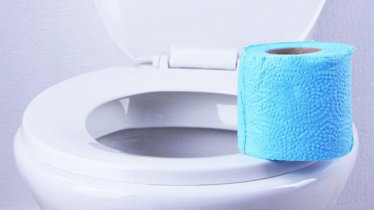 Toilette mit Toilettenpapier: Blut im Stuhl als Hinweis auf Darmkrebs
