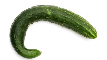 Symptom einer Erektionsstörung ist der schlaffe Penis, hier symbolisiert durch eine krumme Gurke.